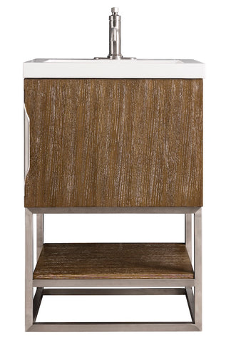 "24"" Columbia Single Sink Bathroom Vanity, Latte Oak, Brushed Nickel w/ Top"