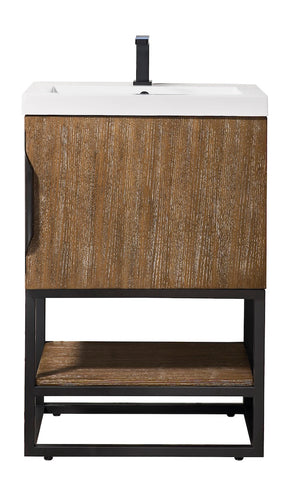 "24"" Columbia Single Sink Bathroom Vanity, Latte Oak, Matte Black w/ Top"