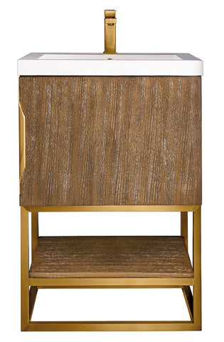 "24"" Columbia Single Sink Bathroom Vanity, Latte Oak, Radiant Gold w/ Top"