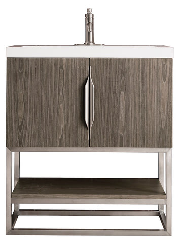 "31.5"" Columbia Single Sink Bathroom Vanity, Ash Gray, Brushed Nickel w/ Top"