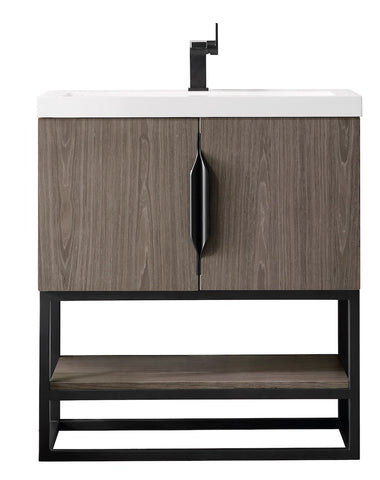 "31.5"" Columbia Single Sink Bathroom Vanity, Ash Gray, Matte Black w/ Top"