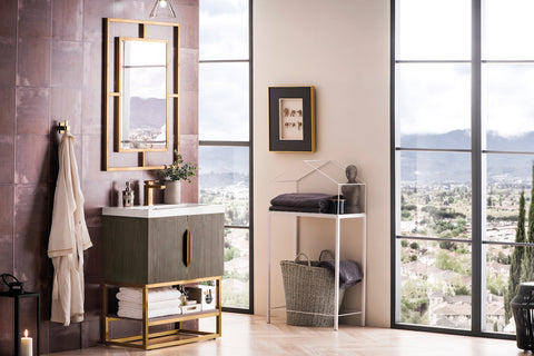 "31.5"" Columbia Single Sink Bathroom Vanity, Ash Gray, Radiant Gold w/ Top"