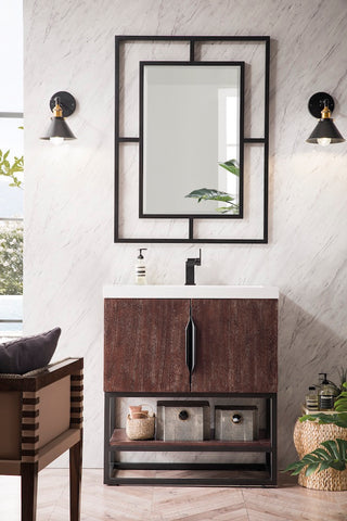 "31.5"" Columbia Single Sink Bathroom Vanity, Coffee Oak, Matte Black w/ Top"