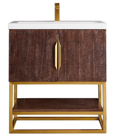 "31.5"" Columbia Single Sink Bathroom Vanity, Coffee Oak, Radiant Gold w/ Top"