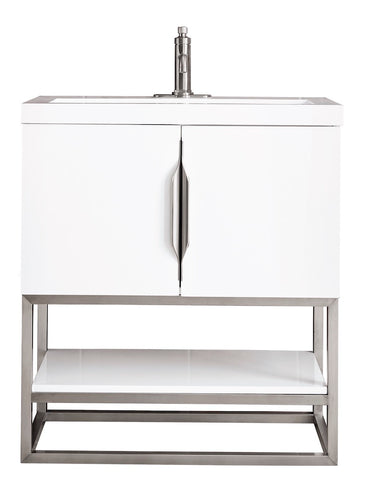 "31.5"" Columbia Single Sink Bathroom Vanity, Glossy White, Brushed Nickel w/ Top"