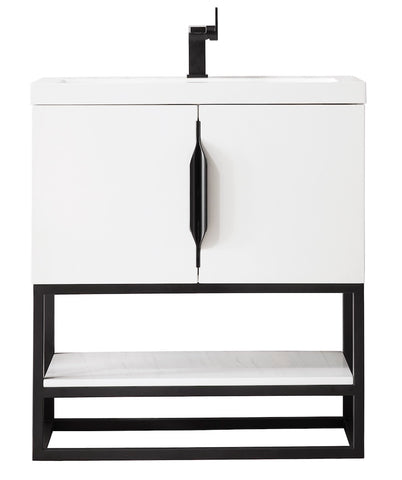 "31.5"" Columbia Single Sink Bathroom Vanity, Glossy White, Matte Black w/ Top"