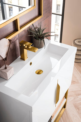 "31.5"" Columbia Single Sink Bathroom Vanity, Glossy White, Radiant Gold w/ Top"