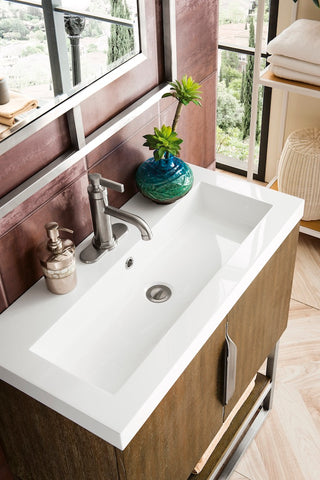 "31.5"" Columbia Single Sink Bathroom Vanity, Latte Oak, Brushed Nickel w/ Top"