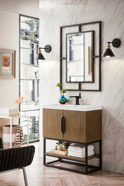"31.5"" Columbia Single Sink Bathroom Vanity, Latte Oak, Matte Black w/ Top"