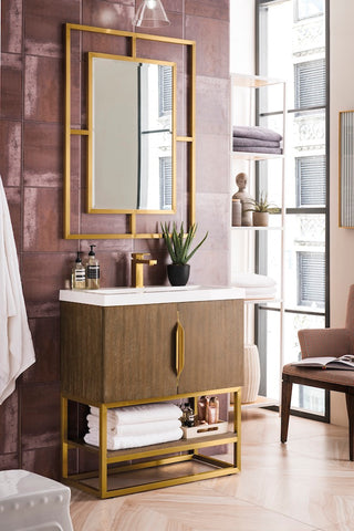 "31.5"" Columbia Single Sink Bathroom Vanity, Latte Oak, Radiant Gold w/ Top"