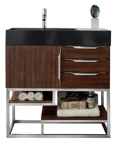 "36"" Columbia Single Sink Bathroom Vanity, Coffee Oak"