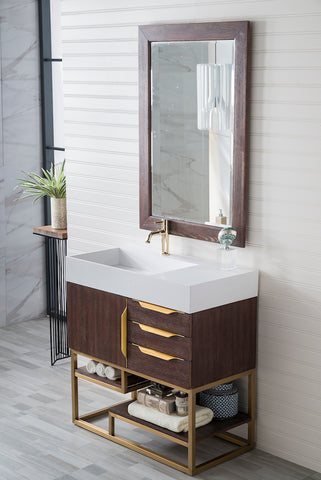 "36"" Columbia Single Sink Bathroom Vanity, Coffee Oak w/ Radiant Gold"