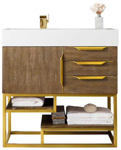 "36"" Columbia Single Sink Bathroom Vanity, Latte Oak w/ Radiant Gold"