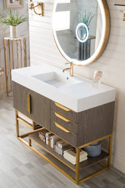 "48"" Columbia Single Sink Bathroom Vanity, Ash Gray w/ Radiant Gold"