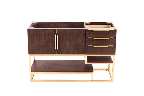 "48"" Columbia Single Sink Bathroom Vanity, Coffee Oak w/ Radiant Gold"