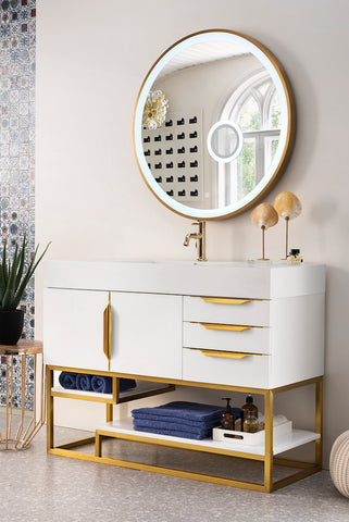 "48"" Columbia Single Sink Bathroom Vanity, Glossy White w/ Radiant Gold"