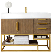 "48"" Columbia Single Sink Bathroom Vanity, Latte Oak w/ Radiant Gold"