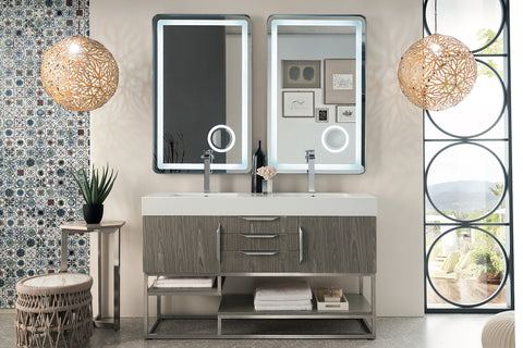 "59"" Columbia Double Sink Bathroom Vanity, Ash Gray"