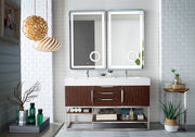 "59"" Columbia Double Sink Bathroom Vanity, Coffee Oak"
