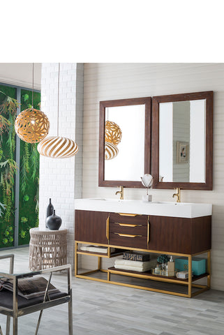 "59"" Columbia Double Sink Bathroom Vanity, Coffee Oak w/ Radiant Gold"