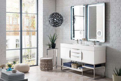 "59"" Columbia Double Sink Bathroom Vanity, Glossy White"