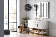"59"" Columbia Double Sink Bathroom Vanity, Glossy White w/ Radiant Gold"