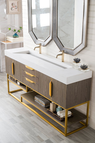 "72"" Columbia Double Sink Bathroom Vanity, Ash Gray w/ Radiant Gold"