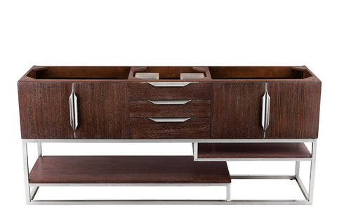 "72"" Columbia Double Sink Bathroom Vanity, Coffee Oak & Brushed Nickel"