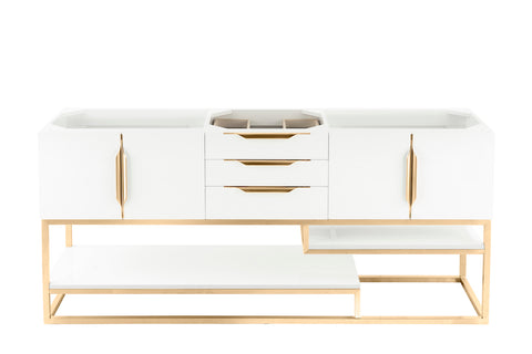 "72"" Columbia Single Sink Bathroom Vanity, Glossy White w/ Radiant Gold"
