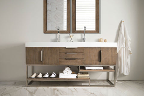 "72"" Columbia Double Sink Bathroom Vanity, Latte Oak w/ Brushed Nickel"