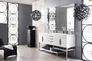 "72"" Columbia Double Sink Bathroom Vanity, Glossy White"