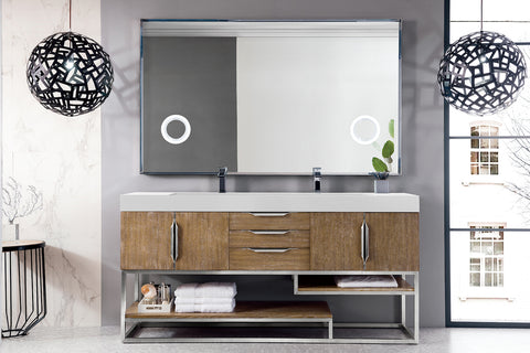 "72"" Columbia Double Sink Bathroom Vanity, Latte Oak"