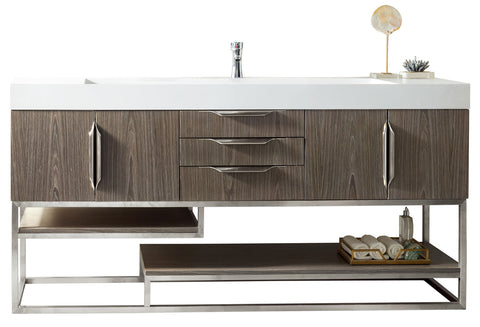 "72"" Columbia Single Sink Bathroom Vanity, Ash Gray"