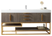"72"" Columbia Single Sink Bathroom Vanity, Ash Gray w/ Radiant Gold"