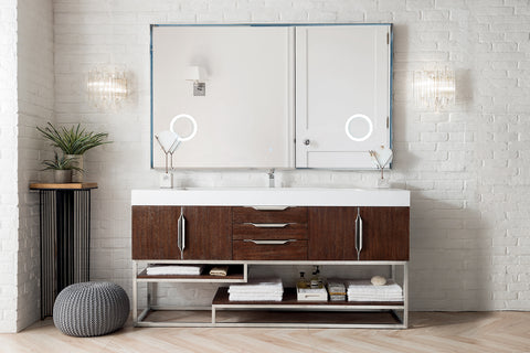 "72"" Columbia Single Sink Bathroom Vanity, Coffee Oak"