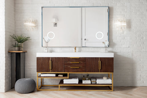 "72"" Columbia Single Sink Bathroom Vanity, Coffee Oak w/ Radiant Gold"