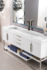 "72"" Columbia Single Sink Bathroom Vanity, Glossy White"