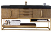"72"" Columbia Single Sink Bathroom Vanity, Latte Oak w/ Radiant Gold"