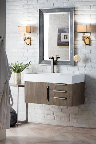 "36"" Mercer Island Single Sink Bathroom Vanity, Ash Gray"