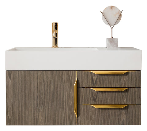 "36"" Mercer Island Single Sink Bathroom Vanity, Ash Gray w/ Radiant Gold"