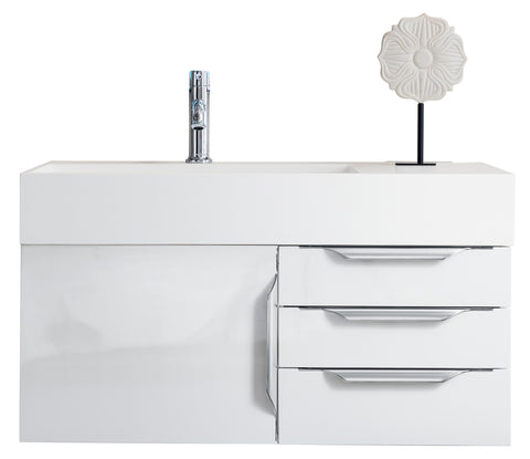 "36"" Mercer Island Single Sink Bathroom Vanity, Glossy White"