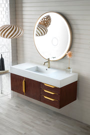 "48"" Mercer Island Single Sink Bathroom Vanity, Coffee Oak w/ Radiant Gold"