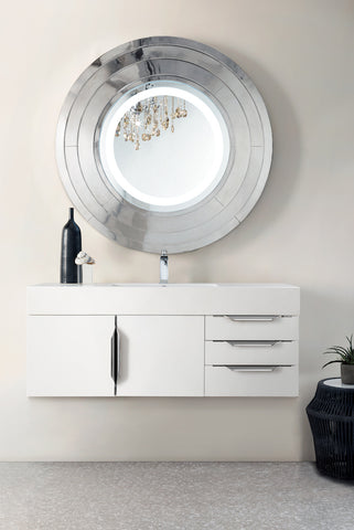 "48"" Mercer Island Single Sink Bathroom Vanity, Glossy White"