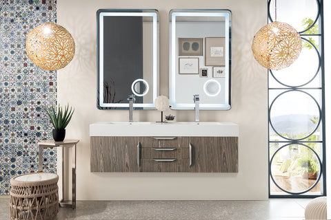 "59"" Mercer Island Double Sink Bathroom Vanity, Ash Gray"