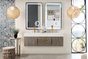 "59"" Mercer Island Double Sink Bathroom Vanity, Ash Gray w/ Radiant Gold"
