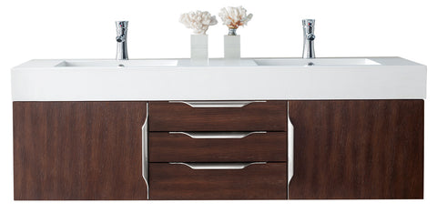 "59"" Mercer Island Double Sink Bathroom Vanity, Coffee Oak"