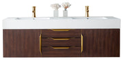 "59"" Mercer Island Double Sink Bathroom Vanity, Coffee Oak w/ Radiant Gold"