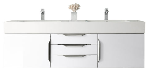 "59"" Mercer Island Double Sink Bathroom Vanity, Glossy White"