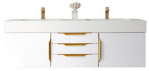 "59"" Mercer Island Double Sink Bathroom Vanity, Glossy White w/ Radiant Gold"
