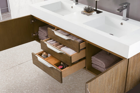 "59"" Mercer Island Double Sink Bathroom Vanity, Latte Oak"